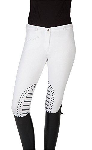 PFIFF 102455 Damen Reithose Cilia, Grip-Besatz, Damenreithose Kniebesatzreithose, Weiß/Grau 40