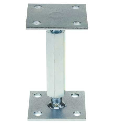 Stützenfuß Pfostenträger 100x100 mm verstellbar - Rechts-Linksgewinde mit Platte