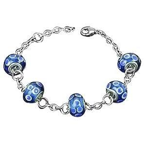 Blue and White Polka Dot Millefiori Glass Bead Bracelet - Adjustable - Silver Stainless Steel