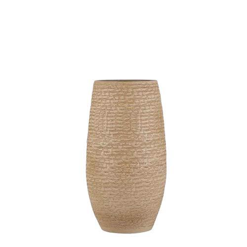 MICA Decorations Deko Vase Milos andgemacht - H 50 x Ø 26 cm - Blumenvase - Bodenvase hoch - Hoher Übertopf Innen (Creme)