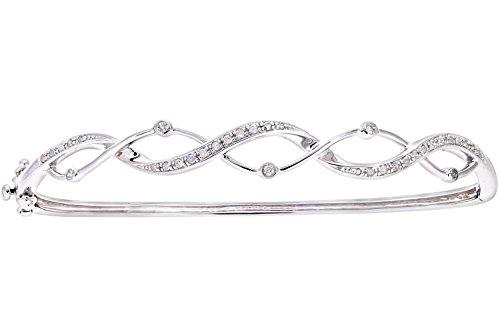 Naava Women's 9 ct White Gold Diamond Channel Set Double Wave Bangle