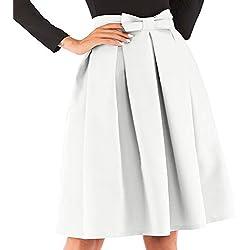 kefirlily Mujer Midi Falda Plisada Cintura Alta Vintage Falda A-Line Elegante Color Sólido con Lazo Blanco M