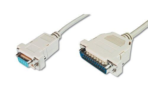 DIGITUS Pralleles Drucker-Kabel - D-Sub 25 zu D-Sub 9 - Stecker zu Buchse - 3.0m Anschluss-Kabel - Beige -