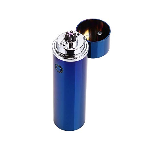 Electronic USB Plasma Lighter - Cylindrical Triple Arc Rechargeable Cigarette/Tobacco Pipe Lighter - Tesla Coil - (Blue) - Free Shipping