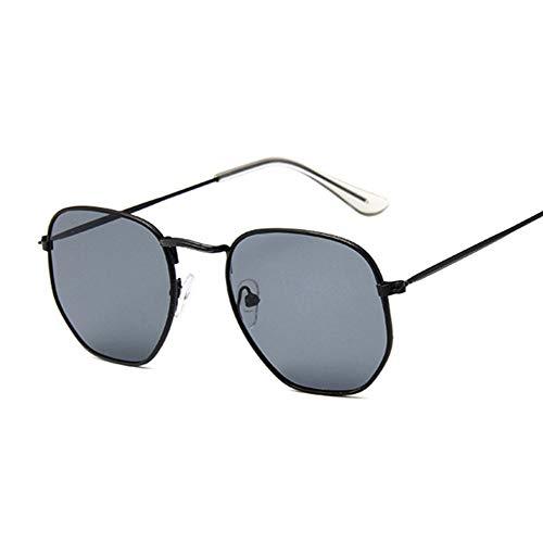 QDE Sonnenbrillen Hexagon Schwarze Sonnenbrille Frauen Kleine Quadrat Sunglases Männer Metallrahmen Fahren Angeln Sonnenbrille, B