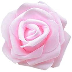 50x Foamrosen Schaumrosen Schaumköpfe Künstliche Blume Brautstrauß Party Hause Dekor Rosen Rosenköpfe - Hell Rosa