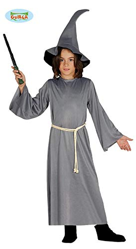 Guirca Kostüm Hexe für Kinder Gandalf 5/6 Jahre, Farbe Grau, (110/116), 8576