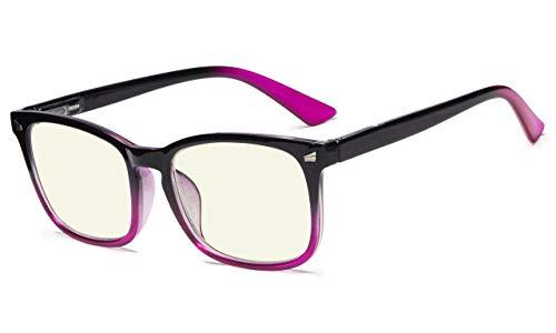 Eyekepper Elegante UV Protection Anteojos Gafas De Lectura Gafas De Ordenador Para Mujeres (Negro-Púrpura, 0.75)