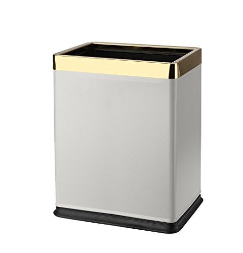 LINA Poubelle de ménage, carré de Double Couche de Cercle d'or en Acier Inoxydable Ignifuge sans Couvercle Couvercle de ménage créatif à Bord du Salon de ménage en métal, 10L-22.5x16.5x27.5cm