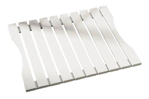 Premier Housewares - Alfombra de baño de madera, color blanco, 49 x 40 xm