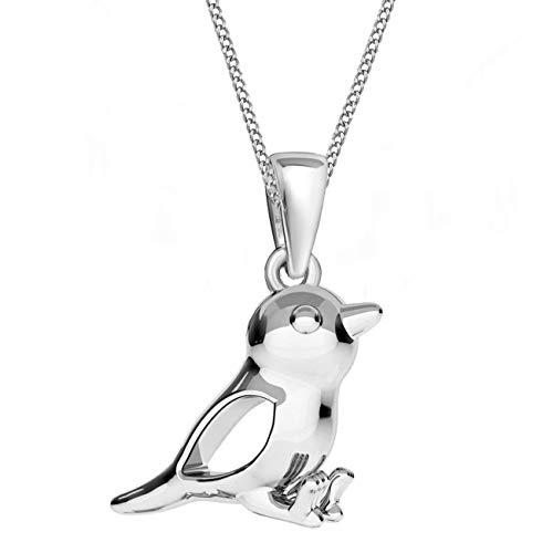 G-H Spatz Anhänger mit Halskette 925 Echt Silber Mädchen Damen Geschenkidee (A-Silber, 50)