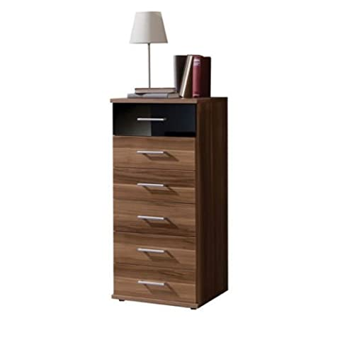 Germanica™ BREMEN Matching Chest Of Drawers In a Choice of 3 Colours and 3 Sizes (Walnut & Black 6 Drawer Tallboy)