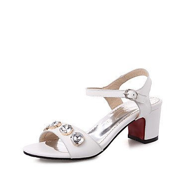 LFNLYX Sandales femmes Confort d'été Chaussures à bride de fille de fleur de peau de vache et de l'emploi de bureau occasionnel robe Talon Rhinestone BuckleBlack Black