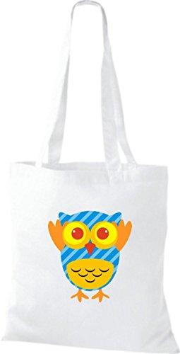 ShirtInStyle Jute Stoffbeutel Bunte Eule niedliche Tragetasche mit Punkte Owl Retro diverse Farbe, braun weiss