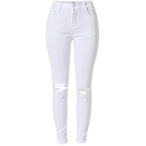 pantalons décontractés pour femmes hauts taiges blancs denim loose huttes