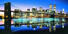 Brooklyn Bridge Twin Towers New York Szene gedehnt & montiert Leinwand Kunstdruck Marke New 120x 50cm - Twin Towers, Brooklyn Bridge