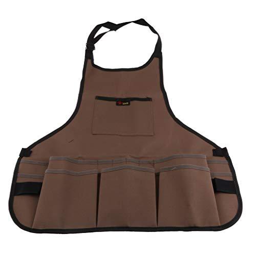 Tubayia Unisex Grillschürze Gartenschürze Arbeitsschürze mit Werkzeug Taschen für Schreiner, Elektriker, Mechaniker (Braun) -