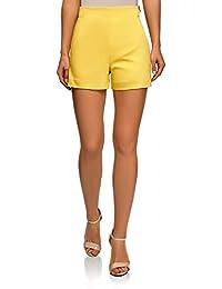 ce51ba8aae oodji Ultra Mujer Pantalones Cortos de Forma de Trapecio con Cremallera en  el Lateral