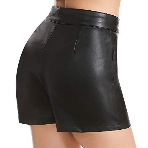 Everbellus Shorts Mujer Cintura Alta Cuero Pantalones Cortos con...