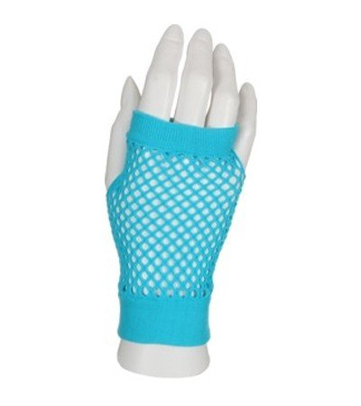 Preisvergleich Produktbild Handschuhe Netzhandschuhe fingerlos kurz türkis blau Disco gloves Schlager Party