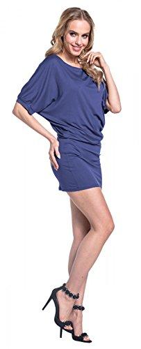 Glamour Empire. Donna Mini Vestito Aderente Mezza Manica Scollo a Barchetta. 700 Blu Grigio