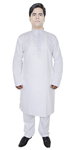 kurta-pajama-embroidery-white-100-cotton-stripe-pant-kurta-yoga-summer-dress-l