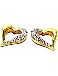 Pegaso Joyería–Pendientes oro amarillo 18kt Corazones Corazones con Circonitas–tappafori Mujer Niña Niña