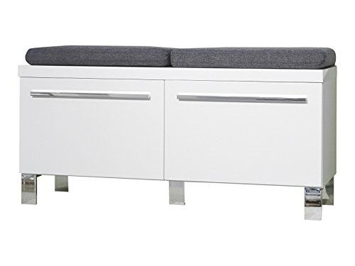 trendteam Garderobe Schuhschrank Sitzbank Derby, 100 x 46 x 35 cm in Weiß Hochglanz  mit viel Stauraum und zwei Einlegeböden ohne Sitzkissen