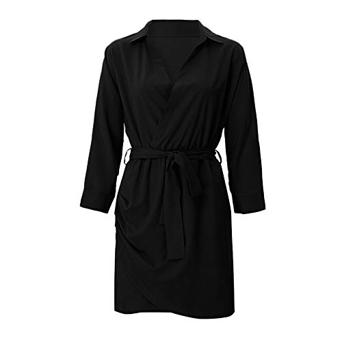 NPRADLA Damen Klassischer Kurz Elegant Trench Coat Zweireiher Mantel Jacke Button-down Trench Coat