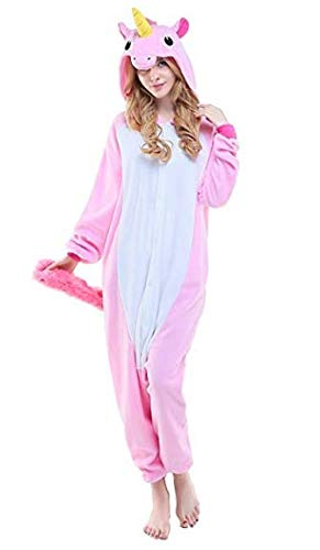 Pigiama Unicorno Cosplay Intero Unisex Animale Costume Halloween Carnevale Attrezzatura Festa Party Sleepwear Tuta- Mescara (S, Rosa)