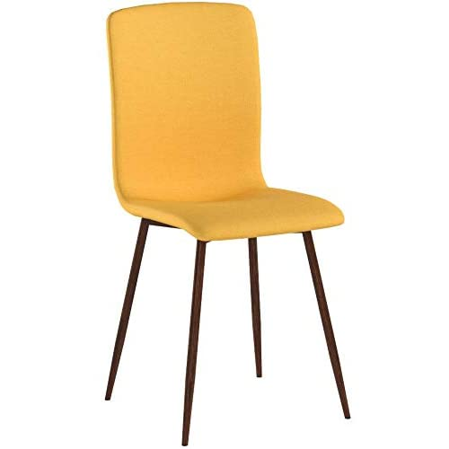 Coavas Dining Chairs Set of 4 Fabric Cushion Seat and Back Kitchen Chairs with Sturdy Metal Legs Dining Room Set Living Room Set, Yellow Chairs