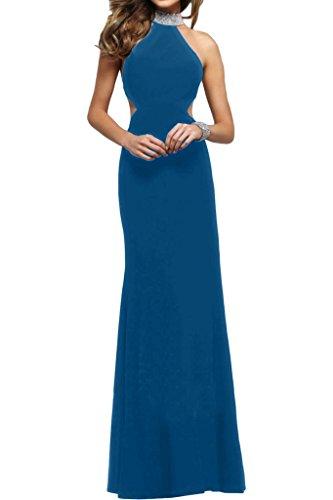ivyd ressing Damen Modern collo alto Rueckenfrei pietre di alta qualità della linea abito del partito Prom abito Fest vestito abito da sera Blau