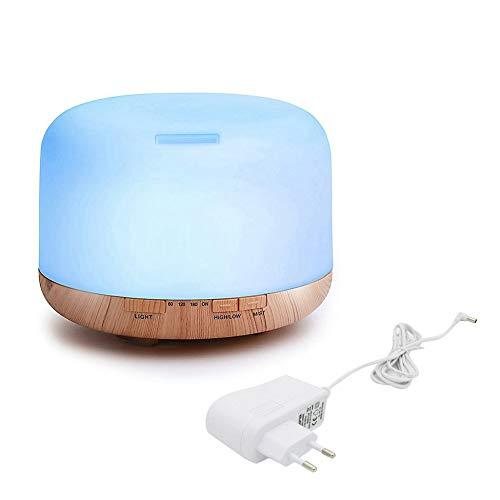 nbvmngjhjlkjl Air Aroma Diffuser Humidificador ultrasónico Aceite Cool Mist Humidifier Purifier Coloridas Luces LED Capacidad de Agua de 500 ML - Blanco