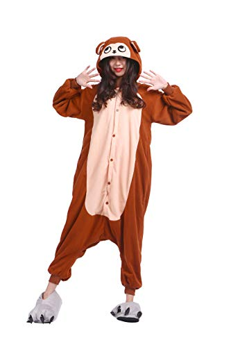 DarkCom Erwachsene Onesies Frauen Pyjamas Sleepsuit Flauschige Kigurumi Halloween Kostüme Jumpsuit (S für Höhe (141CM-155CM), Braun AFFE)