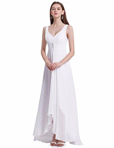 Ever Pretty Damen V-Ausschnitt Chiffon Lange Abendkleider Größe 40 Weiß