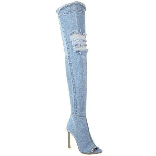 Damen Damen Überknie Stiefel Oberschenkel High Heels Stilettos Stretch Denim Größe - Hellblau Denim, 37