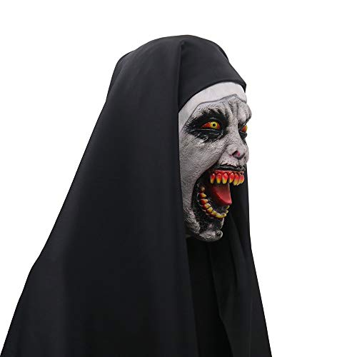 Party Dead Kostüm Girl - SilenceID Halloween Horror Latex Nonne Maske Teufel Maske Scary Creepy Head Masken für Frauen Mädchen Party Requisiten Halloween Requisiten The Conjuring 1 Devil Nonne Horror Masken mit Wimple Kostüm