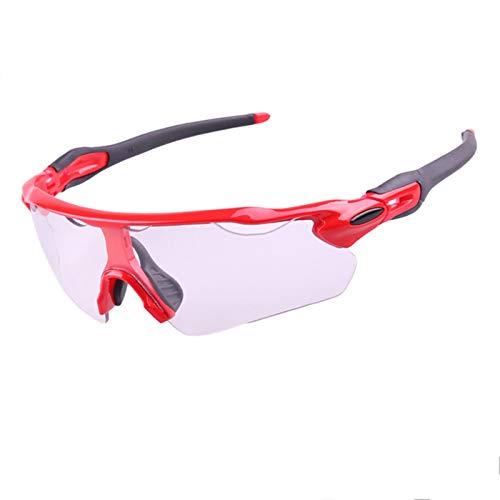 KnBoB Brille Fahrrad Fahrradbrille Antibeschlag Fahrradbrillen Für Herren Selbsttönend Rot Schwarz