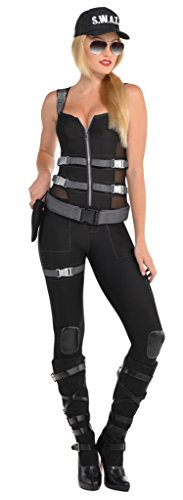 SWAT Officer Ladies Fancy Dress FBI Secret Agent Police Womens Adult Costume New (Small UK 8-10 (Europe 36-38))