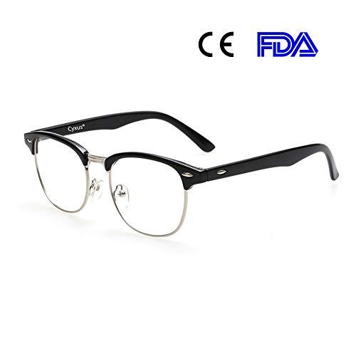 Cyxus Gafas Anti Luz Azul de Semi-Bordes Anti Tensión de Ojos [Mejor Sueño] (Lentes Transparentes) Unisexo (Hombres/Mujeres) Marco Negro