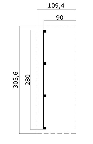 Schleppdach, Bohlenstärke: 28 mm, Größe (B x L): 90 x 280 cm, Nutzfläche: 2,30 m² -