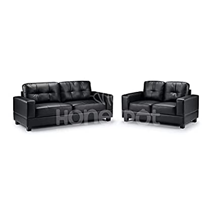 Honeypot - Sofa - Jerry - 3 Seater - 2 Seater - Armchair - Black - Brown - Faux leather (Black, 3 + 2 Seater)