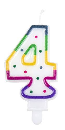 1 STK. Kerze Nummer 4 mit Halter Höhe 7cm Geburtstags Dekoration Kuchen