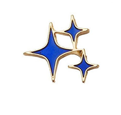 Broschen für Frauen Kleidung Dekoration Schmuck Exquisite Persönlichkeit Stern Broschen Abzeichen Button Badge (blaue Farbe)