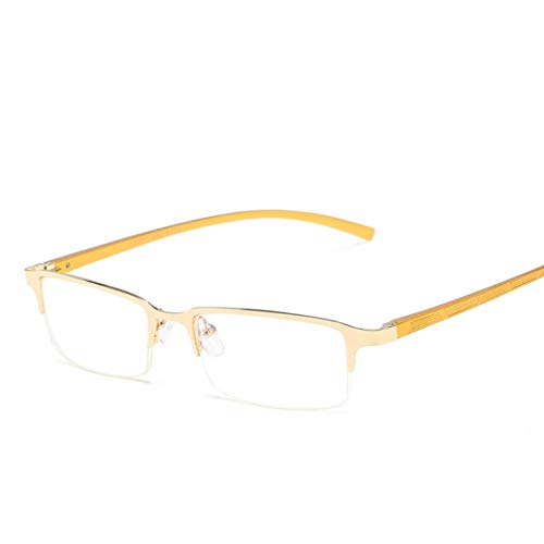 Jiuyizhe Metall-Brille Anti-Blue-Brillen halbrund Brillen Männer Frauen (Color : Yellow)