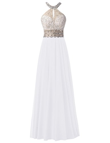 Dresstells Bodenlang Chiffon Abendkleider Rückenfrei Ballkleider Weiß