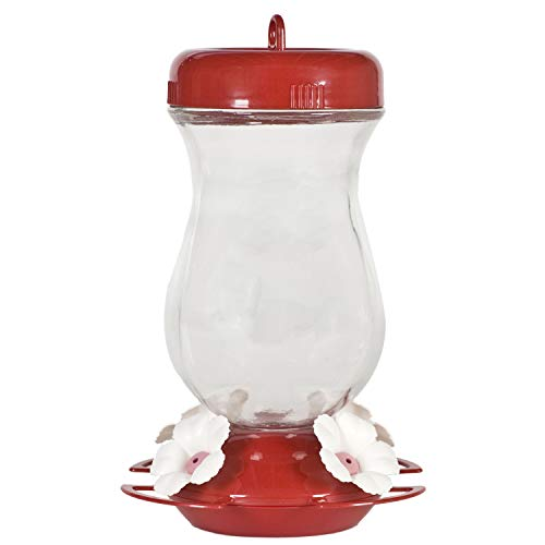 24 oz Top-Fill Glass Hummingbird Feeder - Red Glass Hummingbird Feeder