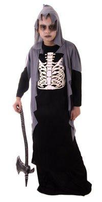 Skelett Sensenmann Kinder Kostüm Halloween Verkleidung Outfit 4 - 12 Jahre - 10-12 Jahre (Skelett Halloween Outfit)