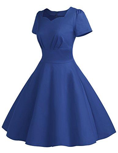 Dresstells Version 8.0 Vintage 1950's robe de soirée cocktail rétro style années 50 manches courtes Bleu Saphir