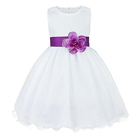 Tiaobug Kinder Kleid Blumen-Mädchen Kleidung Hochzeit Festlich 92 98 104 110 116 128 140 152 164 Lila 140